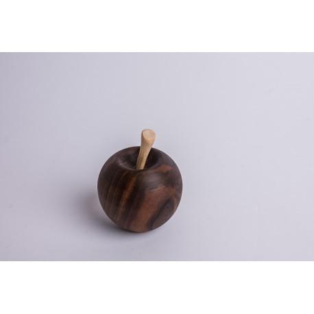 Nussholz Apfel mit Zirbe Stängel  ( 7 cm )