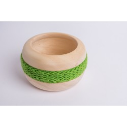 Swiss stone pine bowl Coco with Merino wool ribbon (Green)
