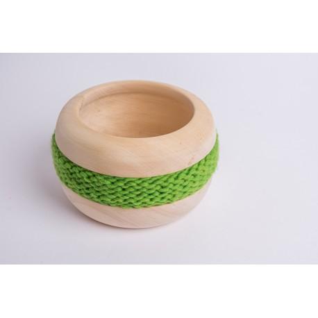 Swiss stone pine bowl Coco with Merino wool ribbon (Green)