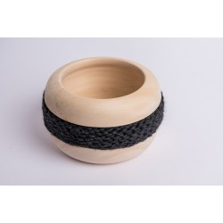 Swiss stone pine bowl Coco with Merino wool ribbon (Anthracite)