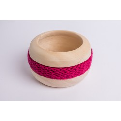 Swiss stone pine bowl Coco with Merino wool ribbon (Fuchsia)