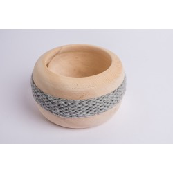 Swiss stone pine bowl Coco with Merino wool ribbon (Grey)