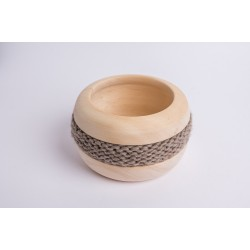 Ciotola di pino cembro Coco con fascia di lana merino (Grigio Marrone)