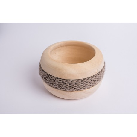 Swiss stone pine bowl Coco with Merino wool ribbon (Brown Grey)