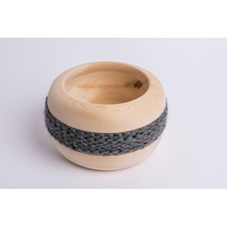 Swiss stone pine bowl Coco with Merino wool ribbon (Dark Grey)
