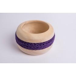 Swiss stone pine bowl Coco with Merino wool ribbon (Dark Violet)