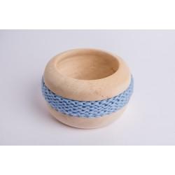 Ciotola di pino cembro Coco con fascia di lana merino (Azzurro)