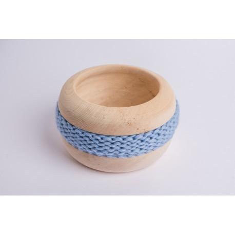 Swiss stone pine bowl Coco with Merino wool ribbon (Sky Blue)