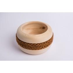 Swiss stone pine bowl Coco with Merino wool ribbon (Brown)