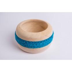 Ciotola di pino cembro Coco con fascia di lana merino (Blu Turchese)