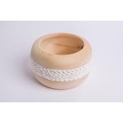 Ciotola di pino cembro Coco con fascia di lana merino (Bianco)