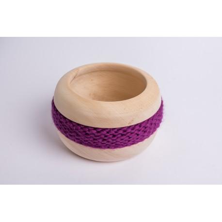 Swiss stone pine bowl Coco with Merino wool ribbon (Violet)