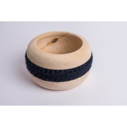 Swiss stone pine bowl Coco with Merino wool ribbon (Dark Blue)