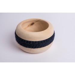 Ciotola di pino cembro Coco con fascia di lana merino (Blu Scuro)