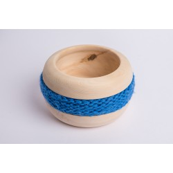Swiss stone pine bowl Coco with Merino wool ribbon (Blue)