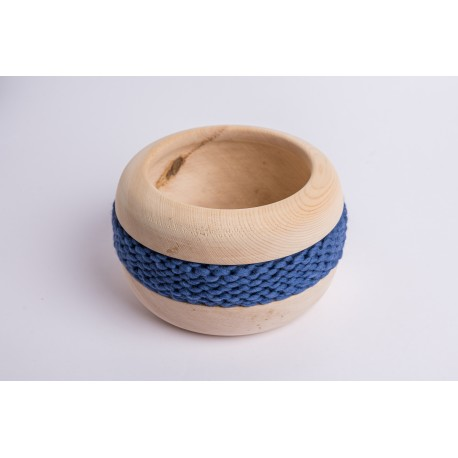 Swiss stone pine bowl Coco with Merino wool ribbon (Old Blue)