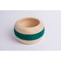 Swiss stone pine bowl Coco with Merino wool ribbon (Dark Green)