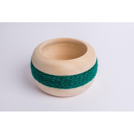 Swiss stone pine bowl Coco with Merino wool ribbon (Dark Green)
