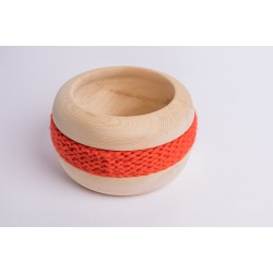 Swiss stone pine bowl Coco with Merino wool ribbon (Acid Orange)