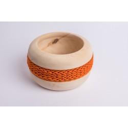 Ciotola di pino cembro Coco con fascia di lana merino (Arancione)