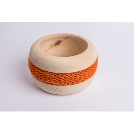 Swiss stone pine bowl Coco with Merino wool ribbon (Orange)