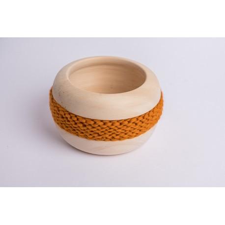 Swiss stone pine bowl Coco with Merino wool ribbon (Ocher)
