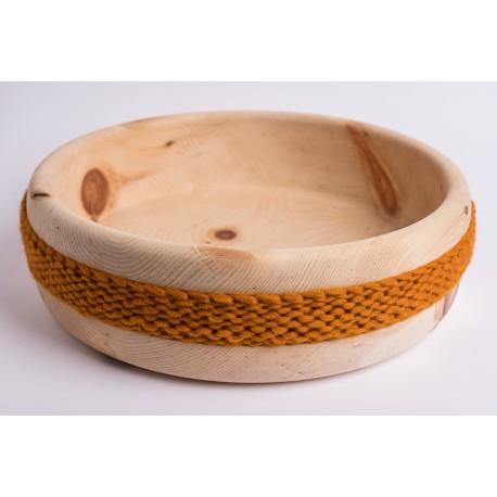 Swiss stone pine bowl with Merino wool ribbon (Ocher)