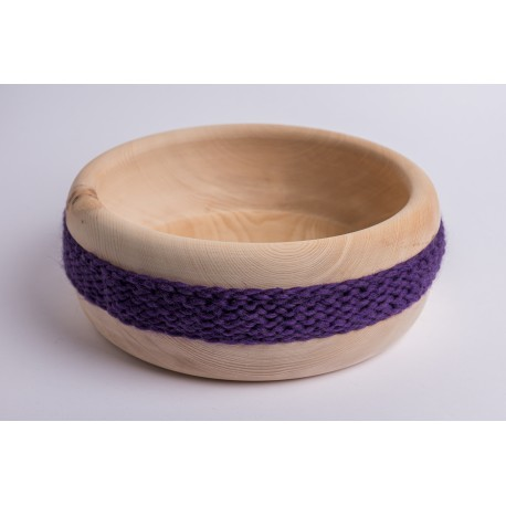 Swiss stone pine bowl with Merino wool ribbon (Dark Violet)