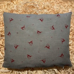 Swiss stone pine cushion Premium Linen ( 28 cm / red )