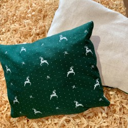 Swiss stone pine cushion Premium Stag Green Linen/Cotton ( 28 cm / Two-sided )