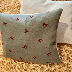 Swiss stone pine cushion (28 cm / two-sided) Premium hunter linen stag blue