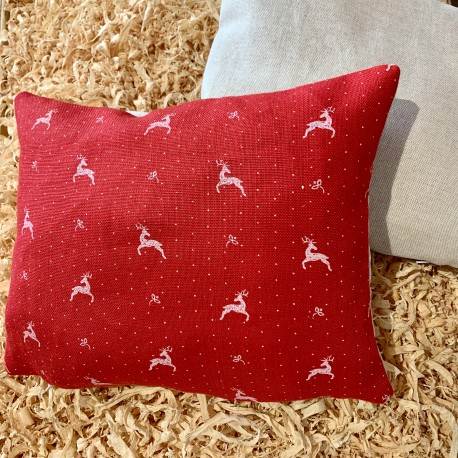Swiss stone pine cushion deer red premium linen (28 cm / two-sided)