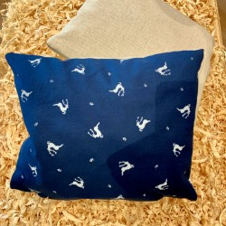 Swiss stone pine cushion (28 cm / Two-sided) Premium Stag Blue Linen/Cotton