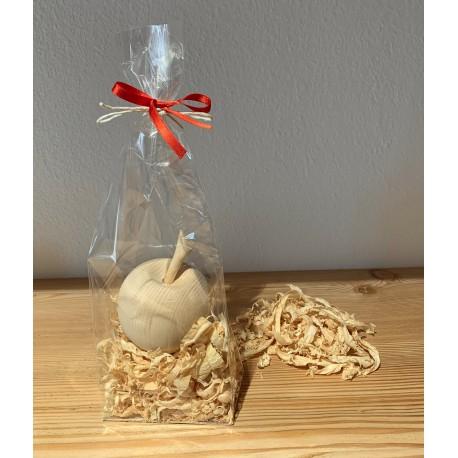 1 x Apfel (7 cm)  aus Zirbenholz Verpackt mit Zirben Späne