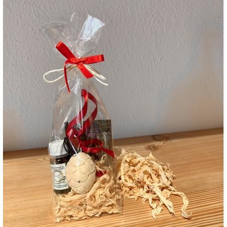 1 x Zirbenzapfen (4 cm)  aus Zirbenholz & 1 x Kurt Art Premium Zirben Öl