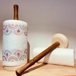 Walnut / Swiss pine wood kitchen roll holder (Handmade & solid wood)