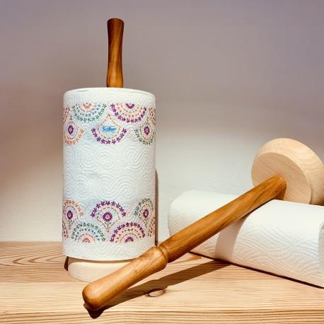 Cherry / Swiss pine wood kitchen roll holder (Handmade & solid wood)