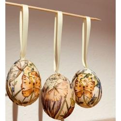 3 x Handgeblasene & gefärbte Oster Ei mit Schleife