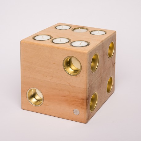 Zirbe Massivholz Teelich Würfel ( Gold )