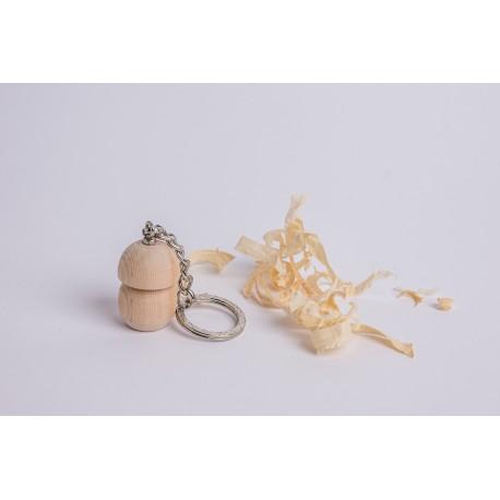 Swiss stone pine wood mushroom keychain