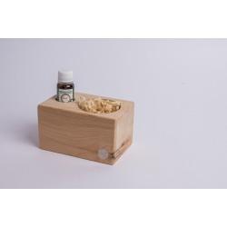 Swiss stone pine dispenser with Swiss stone pine chips & premium Swiss stone pine oil